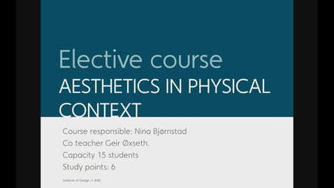 Thumbnail for entry Design - Aesthetics in Physical Context