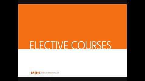 Thumbnail for entry Course presentations FALL 2019 - Elective courses for all
