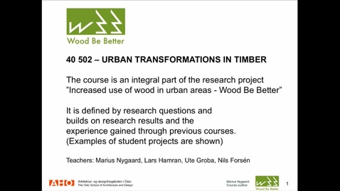 Thumbnail for entry ARK - Urban Transformations in Timber