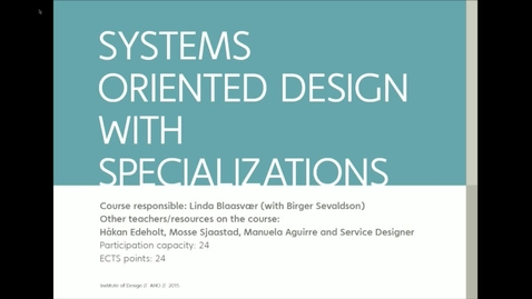 Thumbnail for entry IDE - Systems Oriented Design