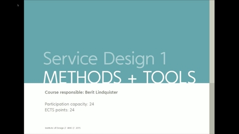Thumbnail for entry IDE - Service Design I