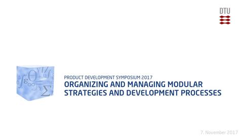 Thumbnail for entry Organizing and Managing Modular Strategies and Development Processes