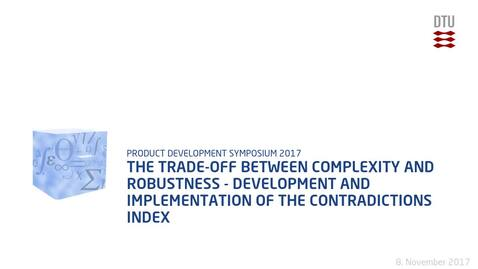 Thumbnail for entry The trade-off between complexity and robustness - development and implementation of the contradictions index