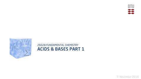 Thumbnail for entry Chapter 16+17: Acids & bases Part 1