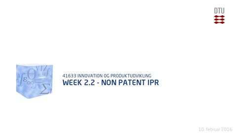 Thumbnail for entry Week 2.2 - Non Patent IPR