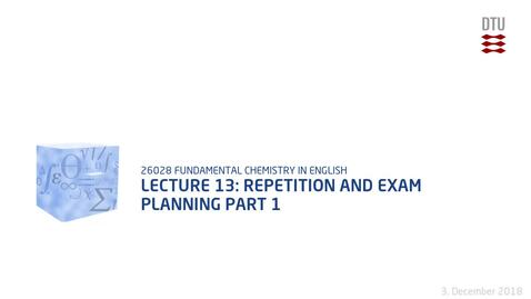 Thumbnail for entry Lecture 13: Repetition and exam planning Part 1