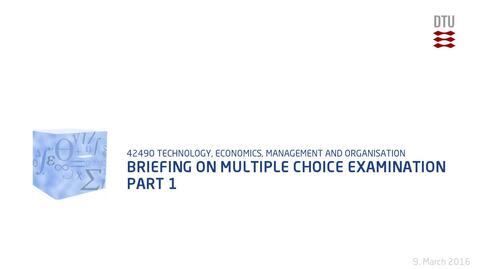 Thumbnail for entry Briefing on multiple choice examination Part 1