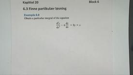 Thumbnail for entry Kapittel 20 6.3-1 Finne partikulær løsning - eksempler