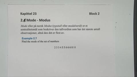 Thumbnail for entry Kapittel 23 2.5 Modus eksempler