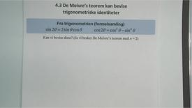 Thumbnail for entry Kapittel 11 4.3 De Moivre´s teorem - bevis av trigonometriske identiteter