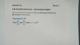 Thumbnail for entry Kapittel 21 2.4 Partiell derivasjon - derivasjonregler - eksempler