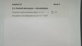 Thumbnail for entry Kapittel 21 2.1 Partiell derivasjon - introduksjon