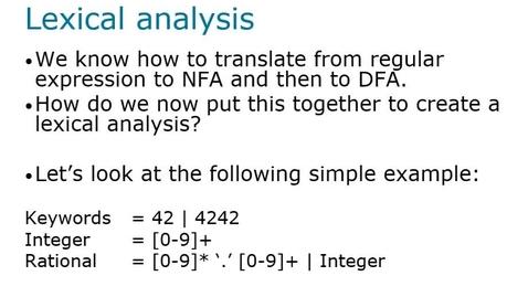 Thumbnail for entry Lexical Analysis