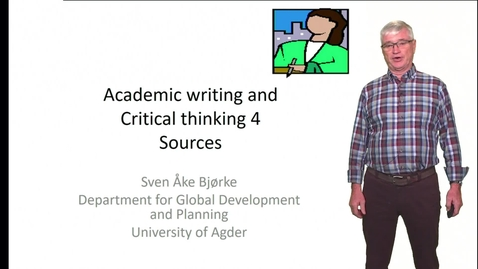 Thumbnail for entry Academic writing and Critical thinking 4 - Sources