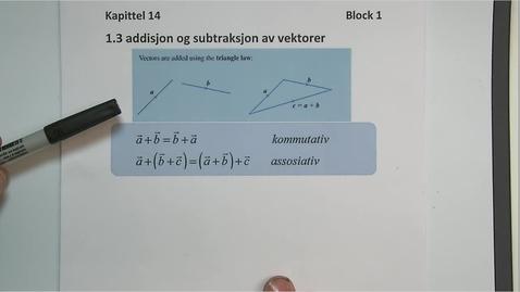 Thumbnail for entry Kapittel 14 1.3 Addisjon og subtraksjon av vektorer