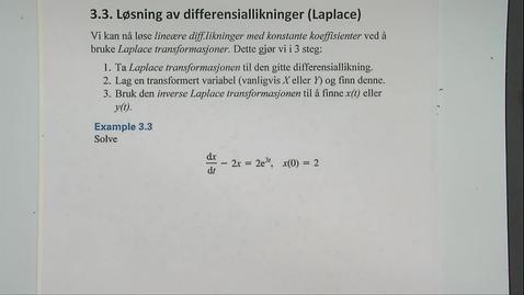Thumbnail for entry Kapittel 22 3.3 Løsning av diff.likninger ved Laplace - eksempel 3.3