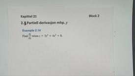 Thumbnail for entry Kapittel 21 2.3 Partiell derivasjon mhp y - eksempler