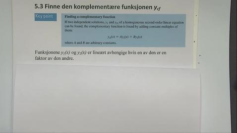 Thumbnail for entry Kapittel 20 5.3 Finne den komplementære funksjon