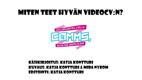 Millainen on hyvä video-cv?