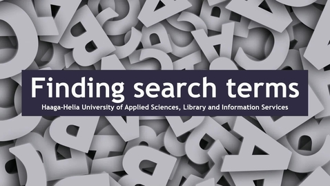 Thumbnail for entry Finding search terms