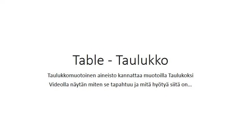 Table - Taulukko