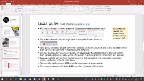 PowerPoint-esityksen & selostuksen nauhoittaminen videoksi
