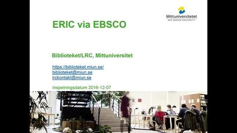 Thumbnail for entry Eric via EBSCO