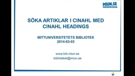 Thumbnail for entry Söka artiklar i Cinahl med Cinahl Headings