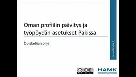 Thumbnail for entry Opiskelijan Pakki-ohjeet: omien profiilitietojen päivitys (HUOM. onnistuu kun opinto-oikeus alkaa)