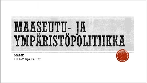 Thumbnail for entry Maaseutupolitiikka