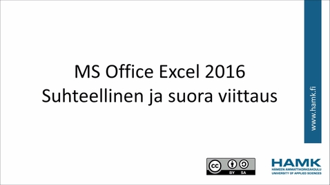 Thumbnail for entry Excel 2016: suhteelliset ja suorat soluviittaukset