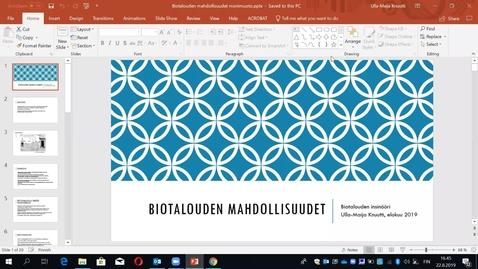 Thumbnail for entry Toimijana bioyhteiskunnassa, johdatus biotalouteen