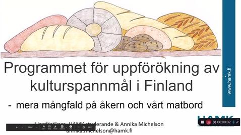 Thumbnail for entry Programmet för uppförökning av kulturspannmål i Finland