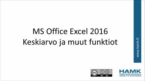 Thumbnail for entry Excel 2016: keskiarvo minimi maksimi ja muut funktiot