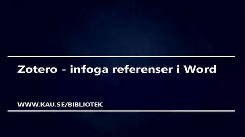Zotero - infoga referenser i Word