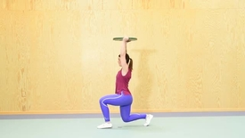 Thumbnail for entry Lunges with weight overhead, lunges with kettlebells, lunges with dumbbells