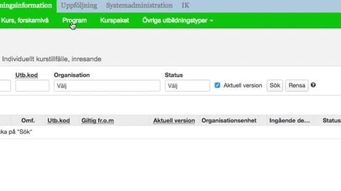 Thumbnail for entry Sök fram ett programtillfälle