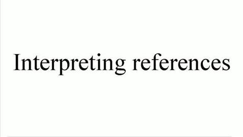 Miniatyrbild för inlägg Interpreting References