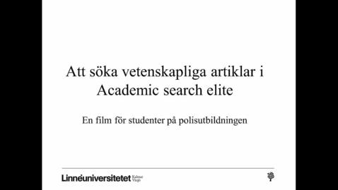 Miniatyrbild för inlägg Att söka vetenskapliga artiklar i Academic search elite