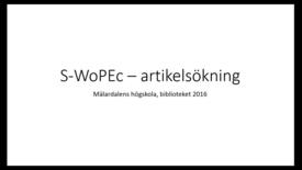 Miniatyr för inlägg S-WoPEc - artikelsokning
