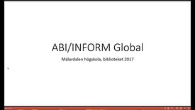 Miniatyr för inlägg ABI/INFORM Global - en exempelsökning