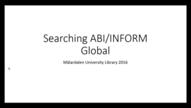 Miniatyr för inlägg ABI-INFORM Global - Searching with search terms and search filters