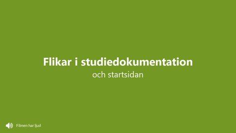 Startsidan och flikarna i studiedokumentation