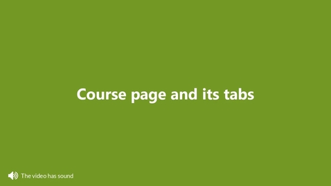 Miniatyr för inlägg Course page and its tabs