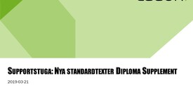 Miniatyr för inlägg Supportstuga: nya Diploma Supplement