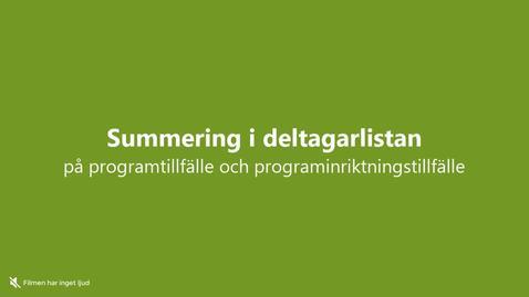 Miniatyr för inlägg Summering i deltagarlistan